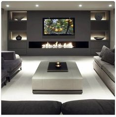Living Room Tv, Living Room With Fireplace, Living Room Interior, Home And Living, Tv Wall Ideas Living Room, Modern Living, Modern Tv Room, Modern Basement, Contemporary Living Room Designs
