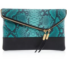 Henri Bendel Debutante Snake Clutch ($167) ❤ liked on Polyvore featuring bags, handbags, clutches, green multi, leather clutches, green clutches, blue leather purse, blue handbags and leather purse