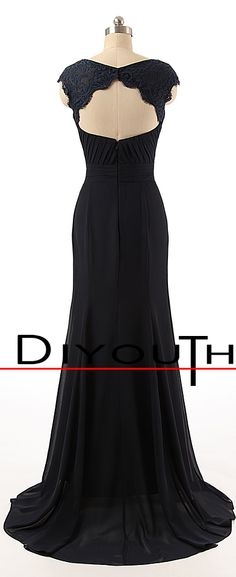 DIYouth.com V-Neck Blue Chiffon Floor Length Lace Open Back Bridesmaid Dress,lace prom dresses, lace evening dress, formal bridesmaid dress, backless bridesmaid gown, dark blue cocktail dress