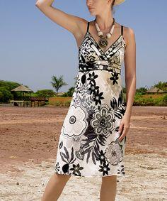 Black & White Floral Surplice Dress
