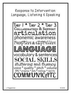 RTI: Language, Listening & Speaking  Now that teachers and students have settled in to their school routines, are you getting a lot of messages and stops in the hallway to talk about  kids who may benefit from speech therapy? This RTI resource is helpful in collecting data and supporting teachers in the classroom. The resource provides easy to implement Tier 1 interventions for use in the classroom along with helpful data collection tools.   #msjocelynspeech #RTI #slpeeps #slpsontpt #tpt