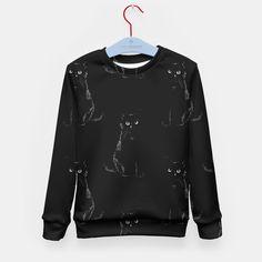 Black black cat in a black black room Kid's Sweater by katalena 24.95€