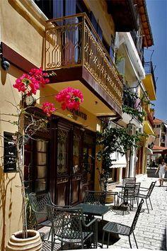 Nafpaktos Vignette Design, Sidewalk Cafe, Nature View, Greek Islands, Amazing Destinations, Beautiful World, Places To See, Around The Worlds, Architecture