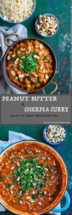 This Peanut Butter & Chickpea Curry is incredibly simple and quick to make only using natural ingredients that you will probably already have in the cupboard at home! It is also gluten free, wheat free, plant-based, vegan and refined sugar free. Peanut Butter Curry, Gluten Free Peanut Butter, Peanut Butter Recipes, Meat Recipes For Dinner, Vegetarian Recipes, Cooking Recipes, Microwave Recipes, Vegan Meals, Cooking Ideas