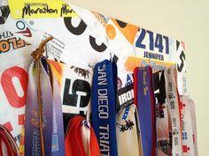 DIY triathlon medal display hanger or rack