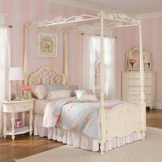 Lea Jessica McClintock Romance Metal & Wood Poster/Canopy Bedroom Set - Jessica McClintock Bedroom Series