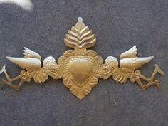 Golden Tin Door Ornament - Skeleton Angels and Sacred Heart 9x17.5 $26.95