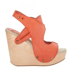 The woodgrain heel and the soft jute lining add warm weather elements, while the walkable wedge blends fashion and function. The hand-burnished finish on th Coral Shoes, Coral Sandals, Wedge Sandals, Shoes Sandals, Heels, Warm Weather, Latest Trends, Exclusive Shoes, Wedges