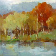 """Barbara Flowers, """"Birch By the Lake II"""", Oil on Canvas, 48x48 - Anne Irwin Fine Art"""
