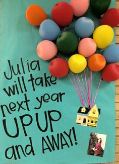 Student government / council poster. Up up and away poster, very easy and cheap to make : found paper at zurchers for .16 cents a yard, balloons from Walmart, used ribbon I had on hand, printed house off a pic we found online.