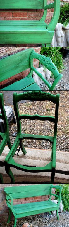 Sillas convertidas en banco de jardín #reciclajecreativo #jardin #garden