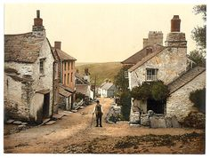 Boscastle, the village street, Cornwall, England reprinted from vintage colorized photochrom travel postcard, captured around 1890. These are