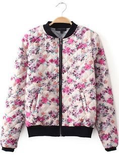 White Long Sleeve Diamond Patterned Floral Coat 23.33