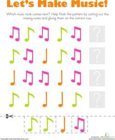 Patterns: Music Notes Worksheet