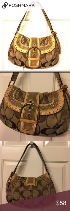 COACH signature vachetta leather trim bag Gently used , authentic, studs , gold leather trim , hang tag , code 10484, inside fully lined with brown fabric , clean over all, magnetic Snap closure 🌟REASONABLE OFFERS ACCEPTED 🌟 Coach Bags