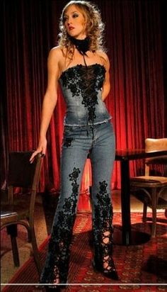 jeans and a top with black lace appliqiue