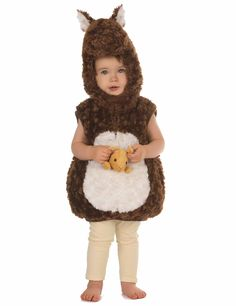 Déguisement kangourou enfant : Ce déguisement de kangourou pour enfant consiste en un pull large à fausse fourrure douce et pourvu d'une capuche.L'habit sans manche se ferme sous le menton par un...