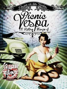 Vespa - Going for a picnic on the Vespa. Vespa Vintage, Pin Up Vintage, Vintage Ads, Vespa Retro, Piaggio Vespa, Lambretta Scooter, Vespa Scooters, Poster Retro, Poster S