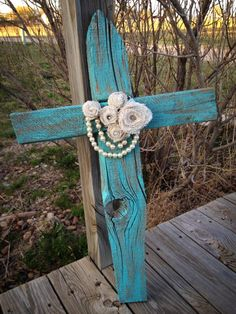 Country Glamour Cross  Up-cycling (as my daughter puts it)   Made from fence posts.