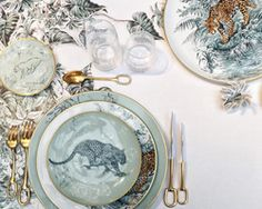 Hermés' carnets d' équateur porcelain collection depicts robert dallet's animal kingdom