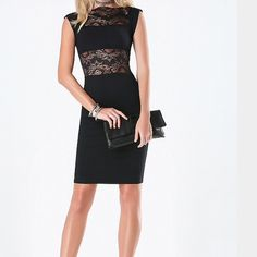Black lace cocktail dress In perfect condition. Worn once bebe Dresses Midi