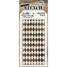 Tim Holtz Layering Stencil - Harlequin Tag-shaped stencil measures 4 x 8 Includes convenient hole in top to attach with a basic book ring (not included). Here's what Tim says about these new stencils. Tim Holtz, Gelato, Stampers Anonymous, Ranger Ink, Scrapbooking, Stencil Designs, Art Store, Joanns Fabric And Crafts, Craft Stores