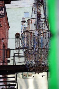chandelier in small street of artists