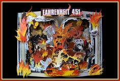 Fahrenheit 451 Book Sculpture.  12x16x3 shawdowbox framed. You can see it in my Etsy Shop:https://www.etsy.com/listing/161451588