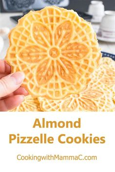 These Almond Pizzelle Cookies are such a treat! Almond Pizzelle Cookies – These Italian waffle cookies are light, crispy & delicious! A festive dessert, breakfast or snack. Waffel Cookies, Pizzelle Cookies, Cake Cookies, Sugar Cookies, Cookies Et Biscuits, Almond Cookies, Biscotti Cookies, Cupcakes, Italian Cookie Recipes
