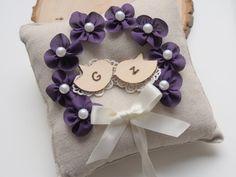 Personalized Ring Bearer Pillow  Love Bird Wedding Purple Wedding by MrsMyLaurie