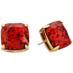Kate Spade New York Small Square Studs (Garnet Glitter) Earring (50 CAD) ❤ liked on Polyvore featuring jewelry, earrings, square stud earrings, kate spade earrings, earring jewelry, post earrings and kate spade jewelry