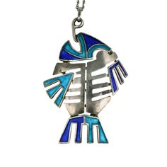 Silver and Enamel Articulated Italian Fish Pendant | From a unique collection of vintage drop necklaces at https://www.1stdibs.com/jewelry/necklaces/drop-necklaces/