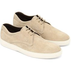 Laced Up Suede Derby (300 CAD) ❤ liked on Polyvore featuring men's fashion, men's shoes, men's oxfords, shoes, men, mens derby shoes, mens shoes, mens suede lace up shoes, mens rubber sole shoes and tods mens shoes