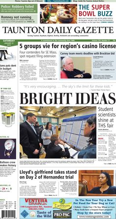 The front page of the Taunton Daily Gazette for Saturday, Jan. 31, 2015.