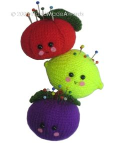 Tomato, Lemon and Plum PINCUSHION Pdf Email KNIT PATTERN