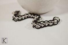Bracelet Black Matte & Silver Half Persian Style by CreationsByKsquared on Etsy