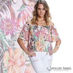 A blusa de decote ciganinha que a gente ama de paixão com estampa floral bapho é pura tendência! ❤  http://www.vinculobasic.com.br/ #vinculobasic #primavera #verao