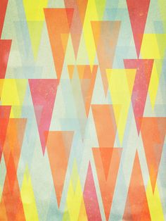 Abstract Art Print, 80s Inspired Art, Colourful Triangles, Pink, Orange, Blue, Wedding, Anniversary Gift - Circus