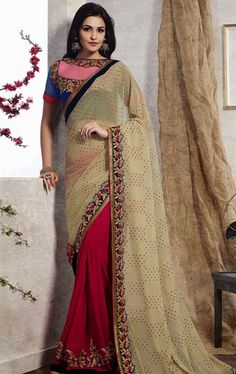Majesty Beige and Pink Color Pleasing Saree