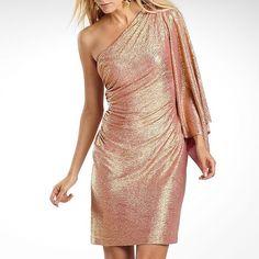 Liliana One-Shoulder Metallic Batwing Dress Rose Gold
