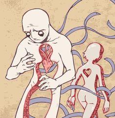 She is left heartless, he is left empty. Kinda poetic.