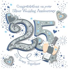 Handmade Silver 25th Wedding Anniversary Greeting Card