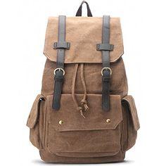 Zebella Canvas Leather 156 inch Laptop Backpack Daypack Shoulder Weekender Bag >>> You can get additional details at the image link.