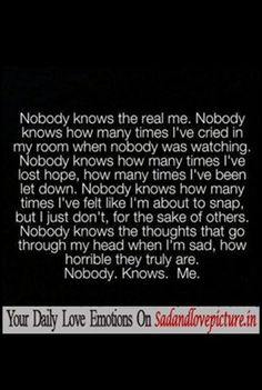 Sad and Love Picture: Nobody knows the real me