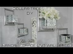Bling Mirror Storage Wall Unit Decor Collab With Green Crystal Rose Diy Home Decor Projects, Easy Home Decor, Cheap Home Decor, Design Projects, Dollar Tree Mirrors, Dollar Tree Decor, Wall Storage, Diy Storage, Storage Mirror