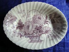 Decorative Dishes -  (http://www.decorativedishes.net/purple-lavender-lush-basket-roses-scalloped-vintage-oval-bowl/)