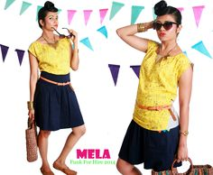 Mela printed top with pleat detailing and and colour blocked back and megyar sleeves. An easy to wear piece that infuses fun into your summer wardrobe, team it with shorts, skirts or your favourite pair of denims and you're done.  #yellow #tops #colourblocked #quirky #design