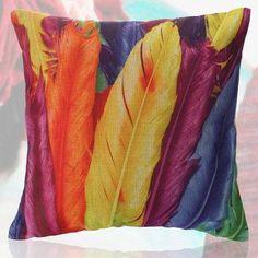 NewChic - NewChic 45x45cm Colorful Feather Printing  Cotton Pillow Case Sofa Waist Throw Cushion Cover Home Decor - AdoreWe.com