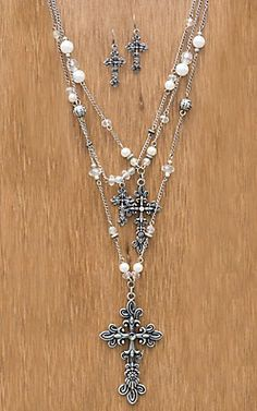 M&F Western Products Cross Pearl Long Multi Chain Jewelry Set | Cavender's