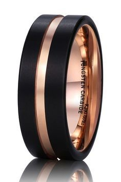King Will 8mm Black Mens Tungsten Carbide Ring Matte Wedding Band with Rose Gold Plated Groove & Inner(6)